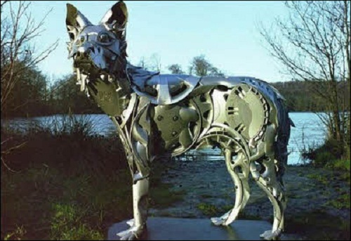 Sculpture of recycled materials by British artist Ptolemy Elrington