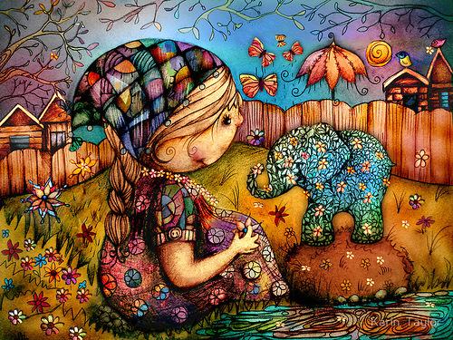 Flower elephant. Illustrations by Australian Artist Karin Taylor