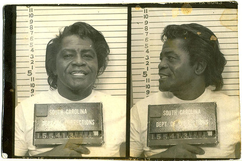 James Brown posed for the South Carolina Department of Corrections mug shot in December 1988