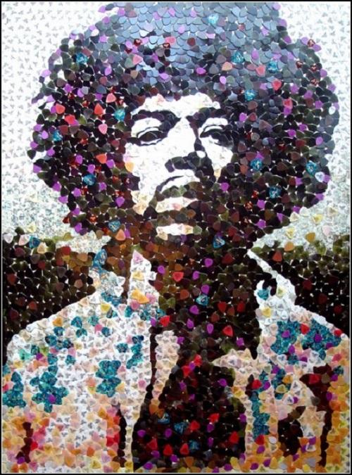 Jimmy Hendrix. Mosaic portraits by Ed Chapman