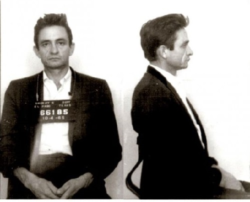 Johnny Cash, arrested in October 1965 when U.S. Customs agents found hundreds of pep pills and tranquilizers in his luggage