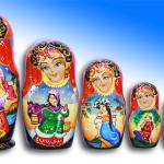 Traditional Matryoshka dolls, painted by Russian artist of applied art by Tatiana Ulyanova