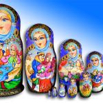 Beautiful Matryoshka dolls painted by Russian artist of applied art by Tatiana Ulyanova