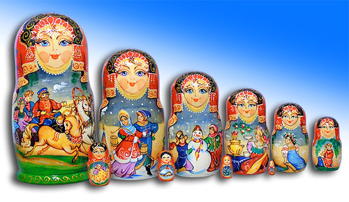 9 pieces Matryoshka from Mytishchi, painted by Russian artist of applied art by Tatiana Ulyanova