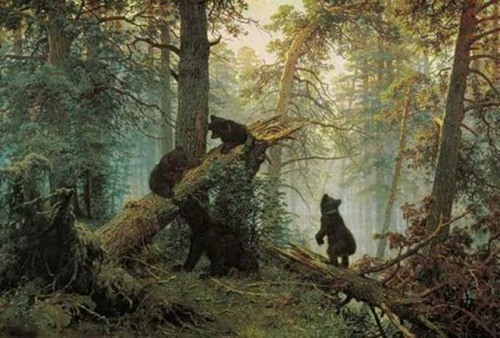 Famous painting by Russian artist Ivan Shishkin 'Morning in a Pine Forest'