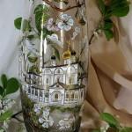 Church. Glassart fantasy - painting on glass by Russian artist of applied art Oksana Vasilyeva
