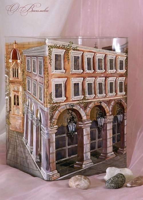 City architecture. Glassart fantasy by Russian artist of applied art Oksana Vasilyeva