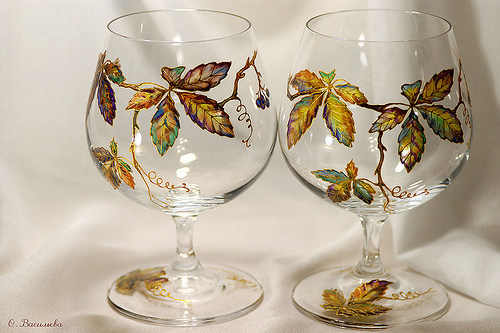 Painting on glass by Russian artist of applied art Oksana Vasilyeva