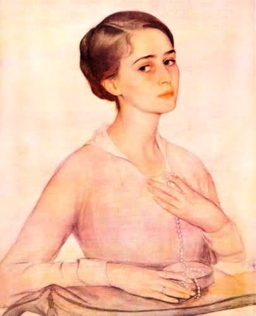Reproduction of a portrait of O. Spesivtseva by artist S. Sorin. 1917O