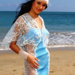 Oxana Fedorova, Miss Russia 2002, poses in her national costume on May 12, 2002 at the Inter-Continental Resort and Casino in San Juan, Puerto Rico