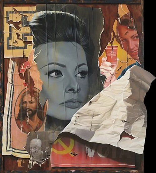 Behind the old movie posters. Painting by Dutch artist Ger Eikendal