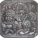 Panel 'Lion'. From the series 'Vladimir-Suzdal antiquity'. aluminum, relief embossing, blackening