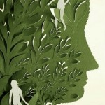 Detail of Paper cut art by American artist Elsa Mora