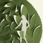 Closeup. Paper cut art by American artist Elsa Mora