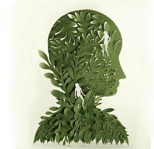 Adam and Eve. Paper art by American artist Elsa Mora
