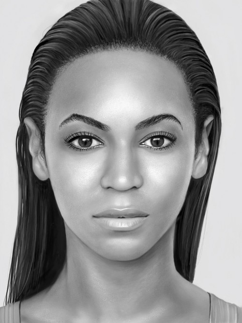 Portrait of Beyonce to showcase the potential of Apple's iPad as a drawing and painting tool. English artist Kyle Lambert