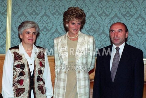 Russian officials photographing with Lady Diana, Princess of Wales
