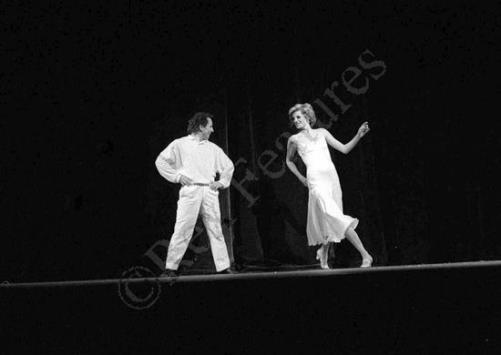 "On the stage dancing to Billy Joel's ""Uptown Girl"", 1985. Princess Diana and Wayne Sleep"