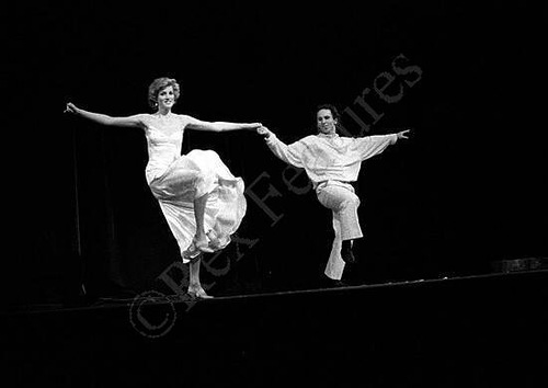 "dancing to Billy Joel's ""Uptown Girl"", Wayne Sleep and Princess Diana on the stage. 1985"