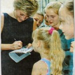 Giving autographs to children. 15 Jun 1995, Moscow, Russia. Lady Diana, Princess of Wales, on visit in Moscow.