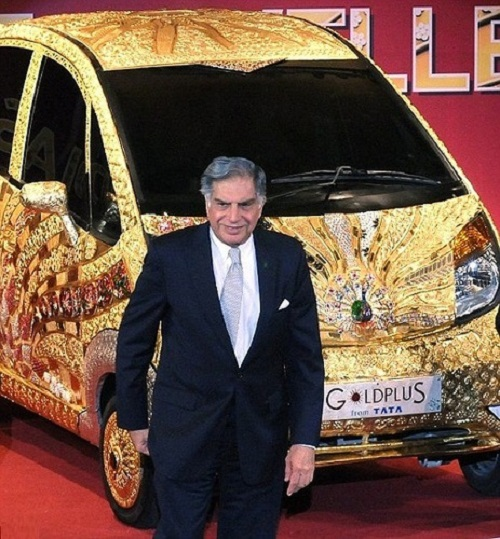 Ratan Tata, chairman of Tata Group, standing next to the car which he says celebrates 5,000 years of jewellery making in India