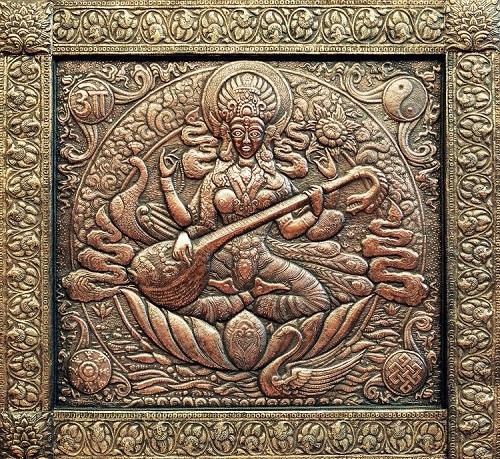 Saraswati (Indian goddess) Panel