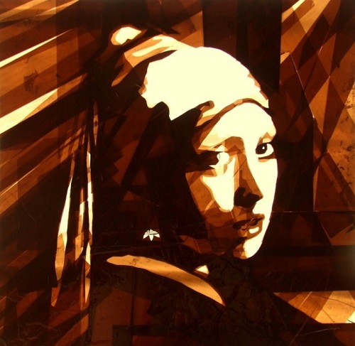 Old films pictures made of brown packing tape. Artwork by Amsterdam based artist Max Zorn