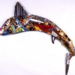 Swordfish. Sculpture made from recycled material by American junk sculptor James Leo Sewell