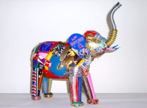 Animal Sculpture made from recycled material by American junk sculptor James Leo Sewell