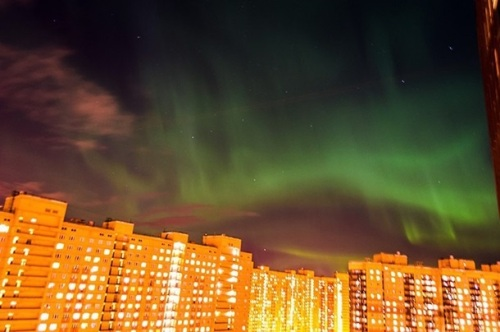 The unique northern Lights demonstrate many colors, with white, yellow, and red predominating