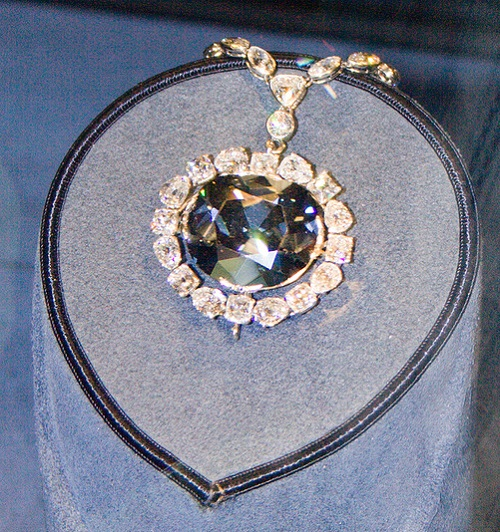 Le bleu de France, or The Hope Diamond, a large, 45.52-carat (9.10 g), deep-blue diamond, now housed in the Smithsonian Natural History Museum in Washington, D.C.