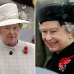 Light beige and black outfits. The Queen of hats Elizabeth II