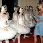 The ballet dancers as they greet Princess Diana in The Royal Albert Hall, 1997