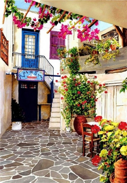 Tender paintings by Pantelis Zografos. This picturesque courtyard is in the old market place on the island of Naxos