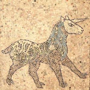 Unicorn mosaic on a San Giovanni Evangelista church floor in Ravenna