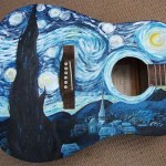Dutch painter Van Gogh inspired painting on guitar
