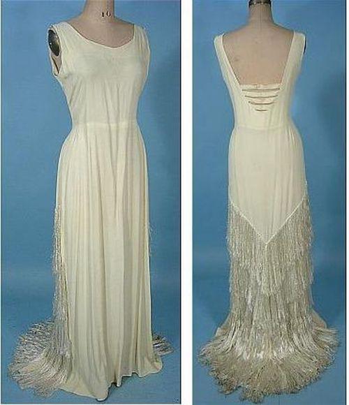 Crape wedding dress, 1930