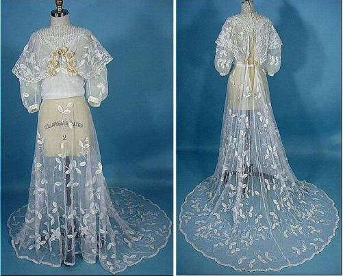 the finest embroidered tulle (the upper part, put on underwear dress) and shoes, beaded, 1900s