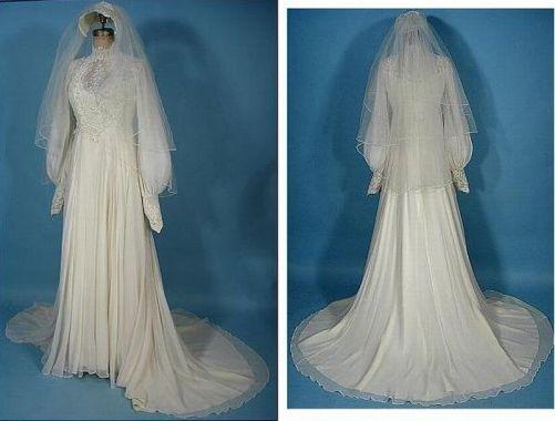 Embroidered chiffon dress, 1976