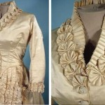Made of satin, trimmed with pearls and silk on the edge, 1882