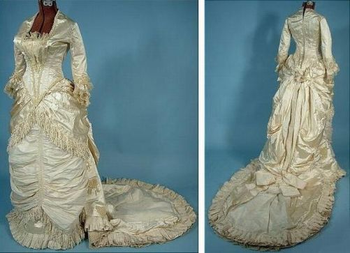 Satin wedding dress, trimmed with pearls and silk on the edge, 1882