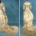 Cream silk satin dress, decorated with beads. End 1870 - beginning of the 1880s