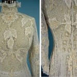 Floral motif lace wedding dress, 1908