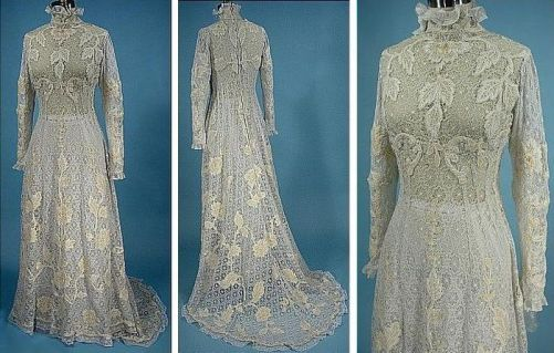 Delicate Wedding dress of lace, 1908