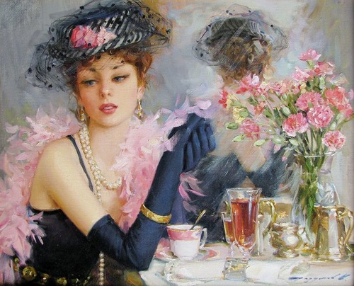 Women in paintings by Konstantin Razumov