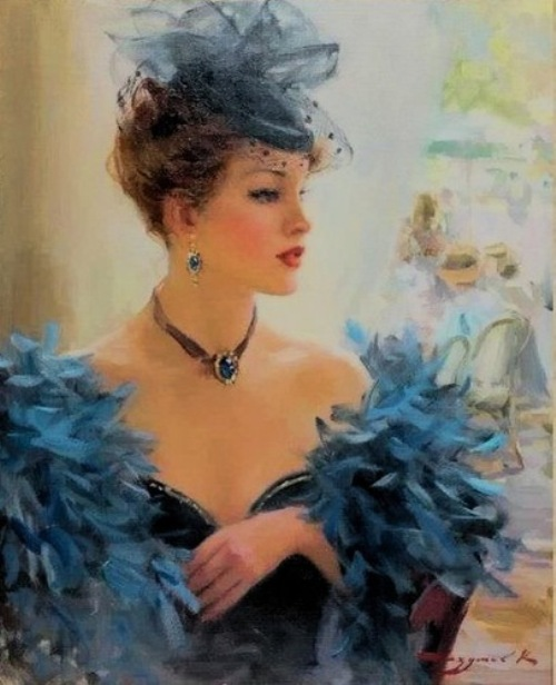 Glamorous woman in a veiled hat. Women in paintings by Russian artist Konstantin Razumov
