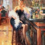 Sitting in a cafe. Women in paintings by Russian artist Konstantin Razumov