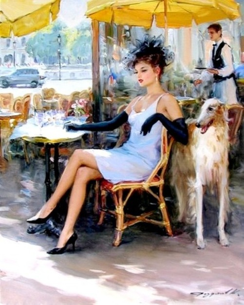 Black gloves. Women in paintings by Russian artist Konstantin Razumov