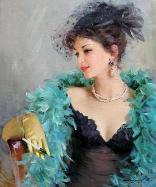 Smoking. Women in paintings by Russian artist Konstantin Razumov
