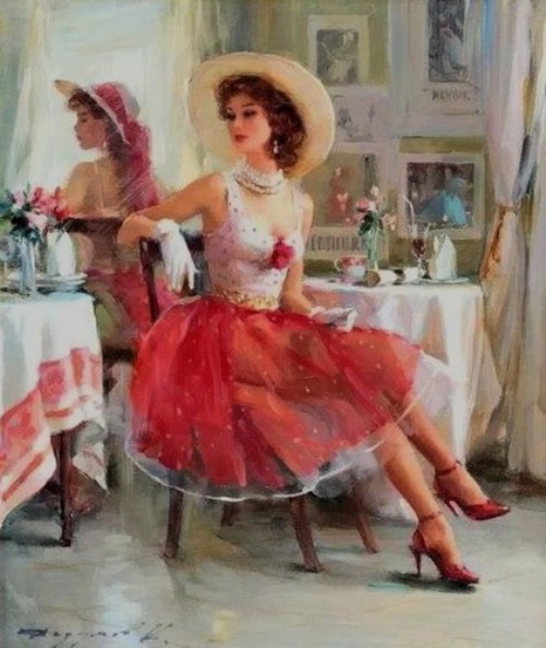 Red skirt. Women in paintings by Russian artist Konstantin Razumov